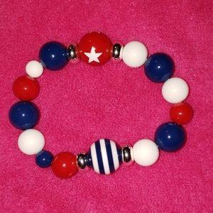 Red White Blue Star Striped Beaded Silver Bracelet